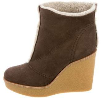 Chloé Shearling Wedge Boots