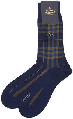 Plaid Cotton Blend Jacquard Socks $36 thestylecure.com