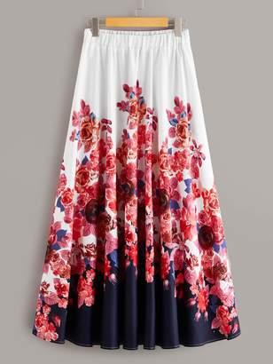 Shein Floral Print Elastic Waist Maxi A-line Skirt