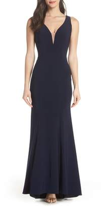 Xscape Evenings Deep V-Neck Trumpet Gown