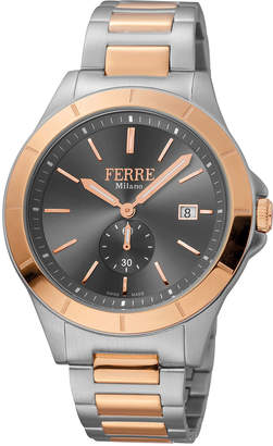 Ferré Milano Men's 43mm Stainless Steel Date Sub-Seconds Diver Watch with Bracelet Steel\/Rose