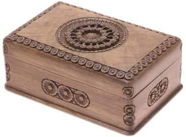 Exotic Radiance Carved Walnut Wood Jewelry Box