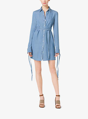 Michael Kors Tie-Waist Denim Shirtdress