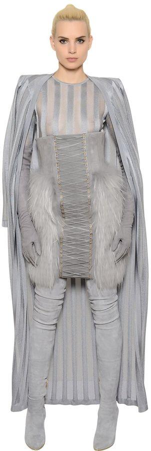 BalmainSheer Stripes Knit Long Cardigan