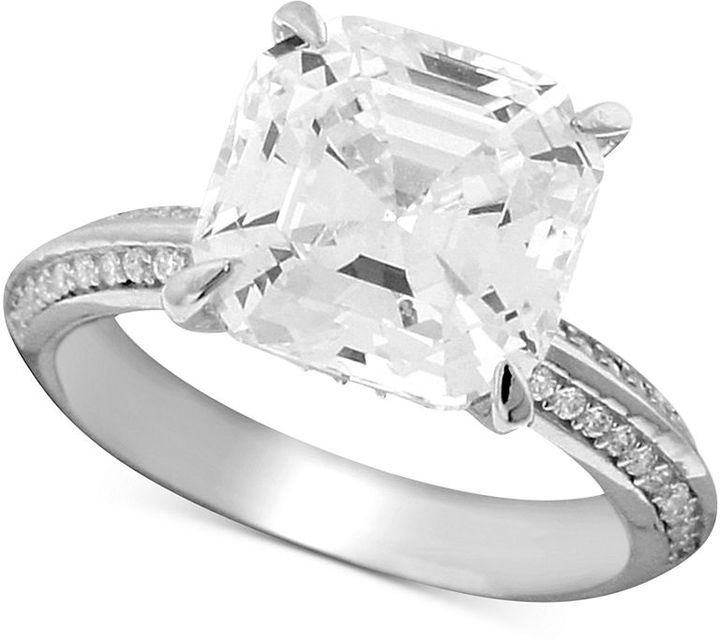 Crislu Ring, Platinum Over Sterling Silver Cubic Zirconia Solitaire Ring (5-3/10 ct. t.w.)