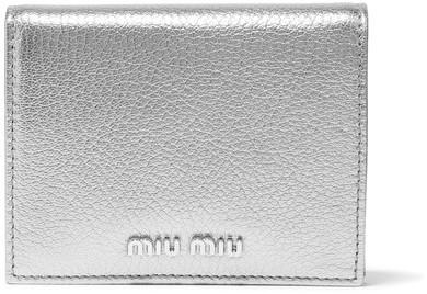 Miu MiuMiu Miu - Metallic Textured-leather Cardholder - Silver