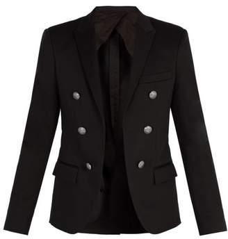 Balmain Double Breasted Cotton Blazer - Mens - Black