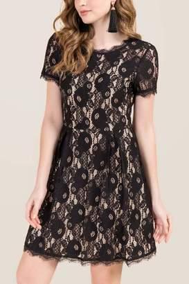 francesca's Stacia Tie Back Lace A-Line Dress - Black