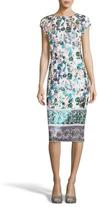 ECI Metallic Foil Print Sheath Dress