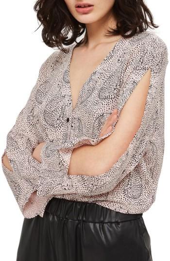 TopshopPetite Women's Topshop Hidden Leopard Shirt