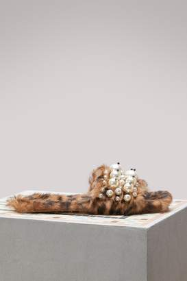 Miu Miu Fur Slippers With Pearl Details