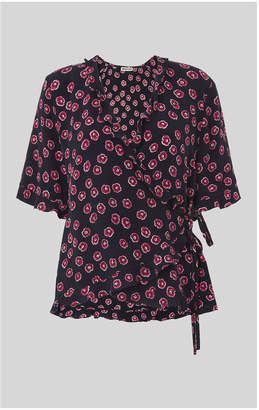 Whistles Lenno Print Frill Wrap Top