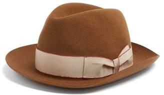 Borsalino Alessandria Contrast Band Hat - Mens - Camel
