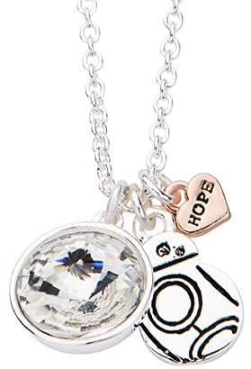 Star Wars Jewelry Women's Silver Plated Episode 7 BB-8 with Clear Gem Pendant Choker Necklace
