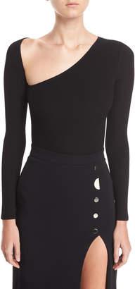 Cushnie Vivian Asymmetric Long-Sleeve Bodysuit