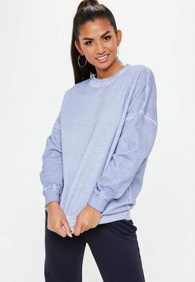 Missguided Purple Washed Out Oversized Sweatshirt