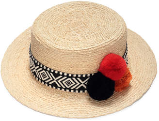 Justine Hats Pompom Straw Boater Hat