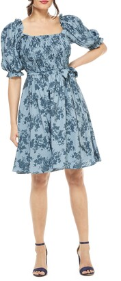 Gal Meets Glam Shiloh Floral Print Smocked Bodice Fit & Flare Dress
