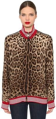 Dolce & Gabbana Logo Band Leopard Jersey Sweatshirt