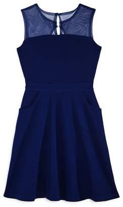 Us Angels Girls' Mesh-Yoke Pocket Dress - Big Kid