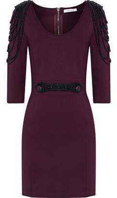 Pierre Balmain Embellished Stretch-Ponte Mini Dress