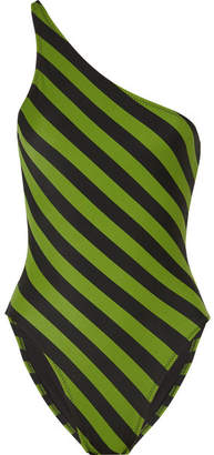 Norma Kamali Mio One-shoulder Striped Swimsuit - Leaf green
