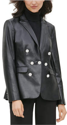 Calvin Klein Faux-Leather Double-Breasted Blazer