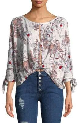 Free People Floral Hi-Lo Top