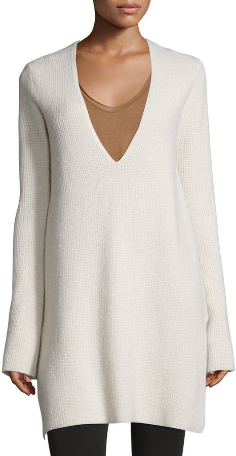 Helmut Lang Helmut Lang Ribbed Wool-Blend V-Neck Tunic, Tusk