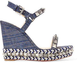 Christian Louboutin Pyraclou 110 Spiked Lamé Wedge Sandals - Blue