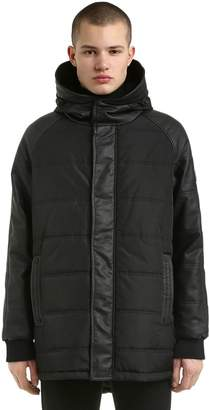 Hooded Faux Leather & Nylon Jacket