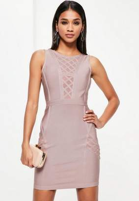 Missguided Purple Bandage Sleeveless Mesh Insert Bodycon Dress
