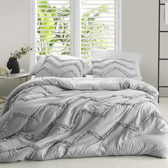 Byourbed Textured Ruffles Bedding - Duvet Cover - Chevron Glacier Gray