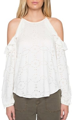 Women's Willow & Clay Eyelet Cold Shoulder Top $79 thestylecure.com