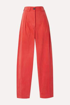 Mara Hoffman Jade Herringbone Tencel And Organic Cotton-blend Tapered Pants - Papaya