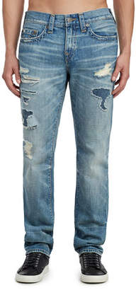 True Religion Men's Geno Worn Transparency Ripped Jeans