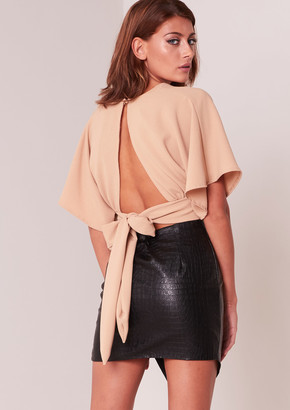 8a3d14806e2303 Missy Empire Missyempire Bethany Beige Batwing Cropped Tie Back Top