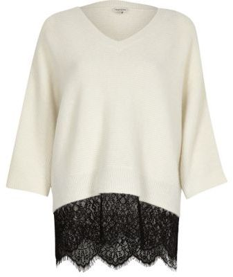 River IslandRiver Island Womens Cream and black lace hem V-neck sweater