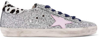 Golden Goose Superstar Calf Hair-trimmed Distressed Glittered Leather Sneakers - Silver