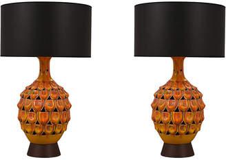 One Kings Lane Vintage Mid-Ccentury Ceramic Table Lamps - Set of 2 - Castle Antiques & Design