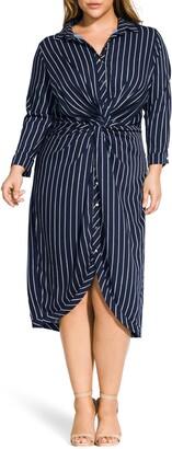 City Chic Stripe Twist Shirtdress