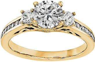 MODERN BRIDE 1 1/5 CT. T.W. Diamond 14K Yellow Gold 3-Stone Engagement Ring