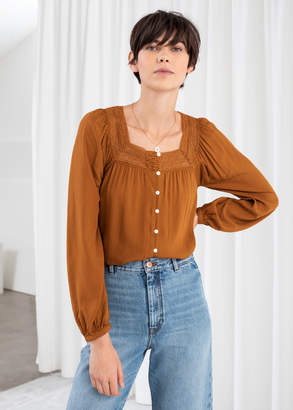 And other stories Cropped Lace Trim Peasant Blouse