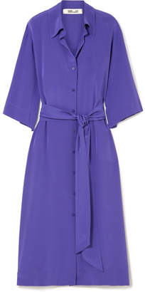 Diane von Furstenberg Belted Silk Crepe De Chine Shirt Dress - Purple