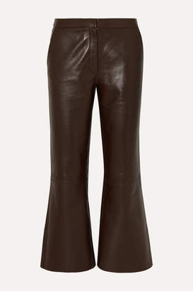 By Malene Birger Vercano Cropped Leather Wide-leg Pants - Dark brown