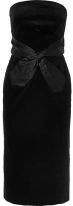 ALEXACHUNG Strapless Bow-embellished Cotton-velvet Midi Dress - Black