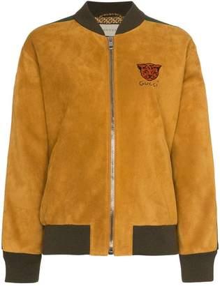 Gucci Logo stripe suede bomber jacket