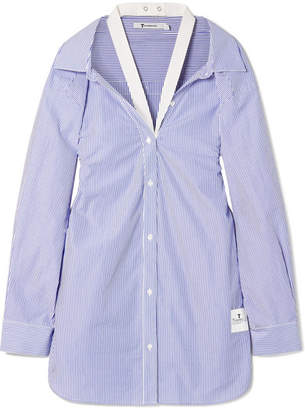 Alexander Wang Canvas-trimmed Striped Cotton-poplin Shirt - Blue