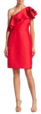 Halston Flounce One-Shoulder Dress