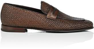 Barrett Men's Apron-Toe Woven Leather Penny Loafers